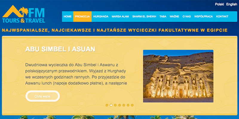 Strona www dla firmy turystycznej