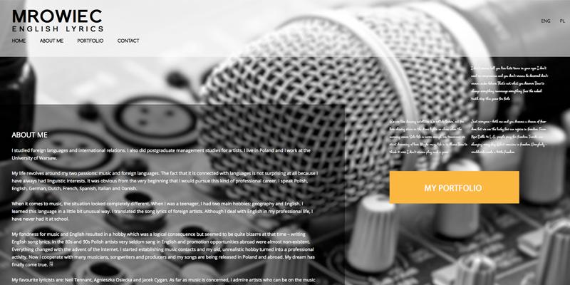 strona internetowa dla profesjonalisty